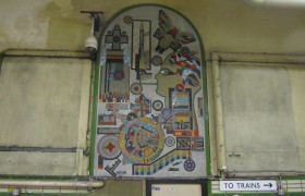 Paolozzi panel at entrance to Tottenham Court Road tube