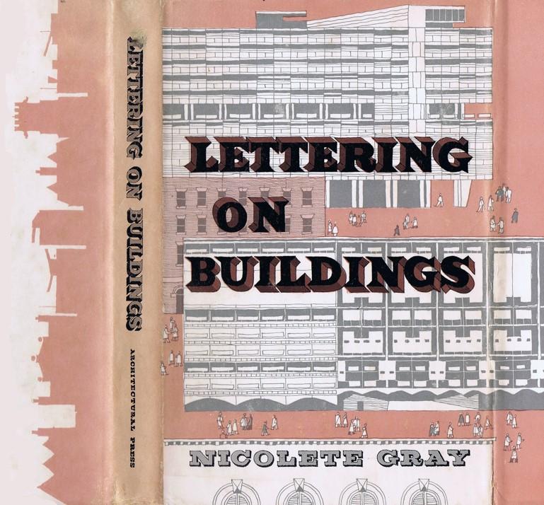 Gordon Cullen, cover for Nicolete Gray, Lettering on Buildings, 1960
