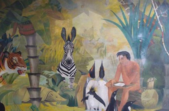 "Close up image of the Barbara jones mural ""Adam naming the animals"" image includes zebra, penguin, tiger, and giraffe among others"