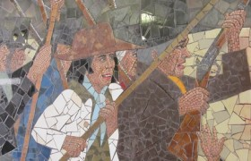 Detail of Chartists depicted in a Newport mural